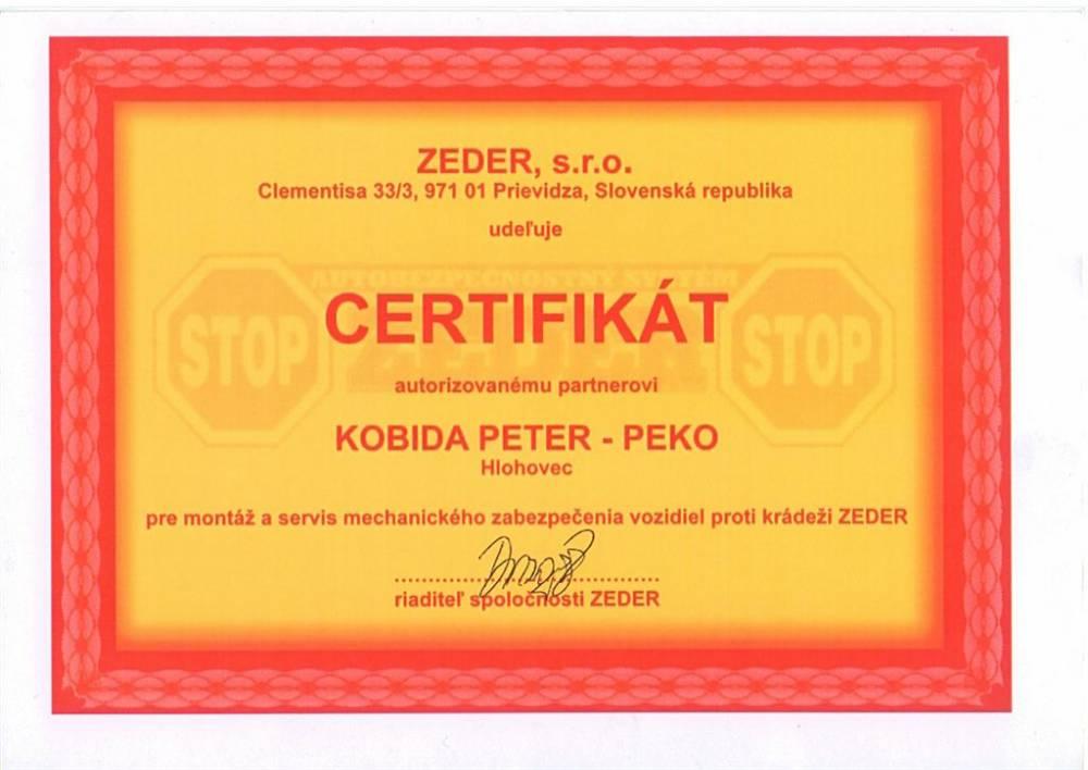 Certifikát pre montáž systému ZEDER