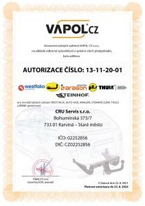 Autorizace pro montáž tažných zařízení AUTO-HAK a BRINK-THULE