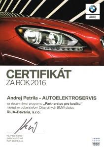 Certifikát za rok 2016