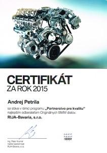 Certifikát za rok 2015